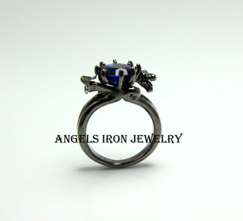 Black Ring Women Wedding Engagement Anniversary Promise Rings Blue Sapphire