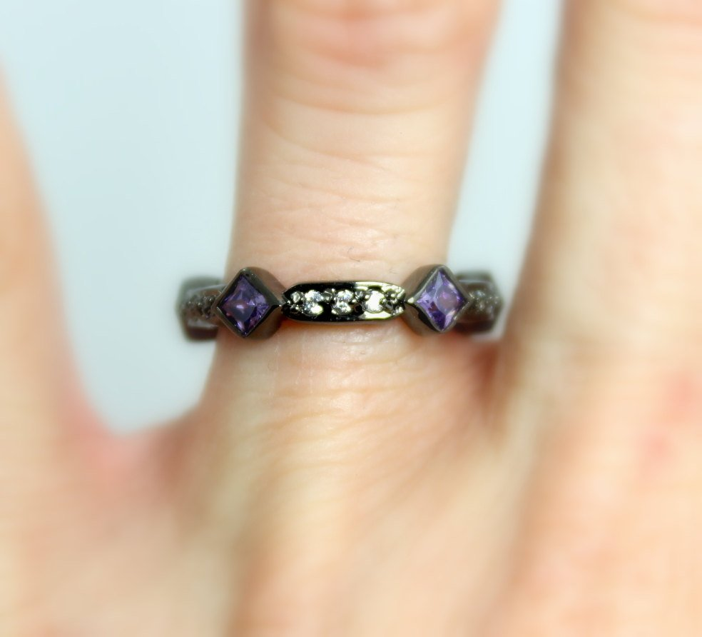 Black Gold Ring Band Women Purple Amethyst Ring Wedding Engagement Promise Eternity Rings