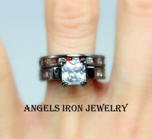 Load image into Gallery viewer, Black Gold Ring Women Red White CZ Engagement Wedding Anniversary Promise Rings