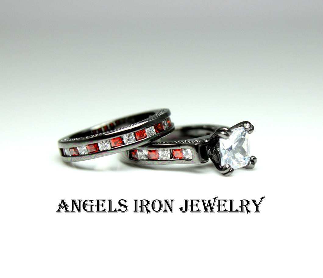 Black Gold Ring Women Red White CZ Engagement Wedding Anniversary Promise Rings