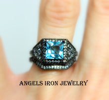 Load image into Gallery viewer, Black Gold Ring Engagement Wedding Anniversary Promise Rings Blue Topaz Set