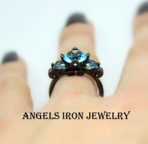 Black Gold Ring Women Multi Stone Hydro Blue Topaz Wedding Engagement