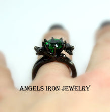 Load image into Gallery viewer, Black Ring Women Wedding Engagement Anniversary Promise Rings Green Emerald CZ Unique Gothic Jewelry Women Gift for her