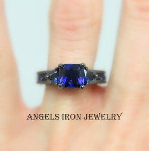 Black Gold Ring Women Wedding Engagement Promise Rings Blue Sapphire CZ Unique Gothic Jewelry Women Gift for her