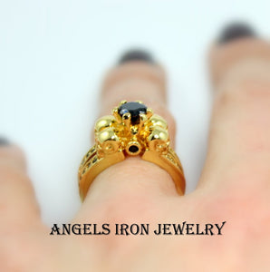 Skull Ring Women Wedding Engagement Anniversary Promise Rings Gold Filled Black Diamond Zirconia Unique Skulls Gothic Jewelry Gift r