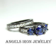 Load image into Gallery viewer, Black Engagement Rign Wedding Anniversary Promise Rings Women Blue Sapphire CZ Unique