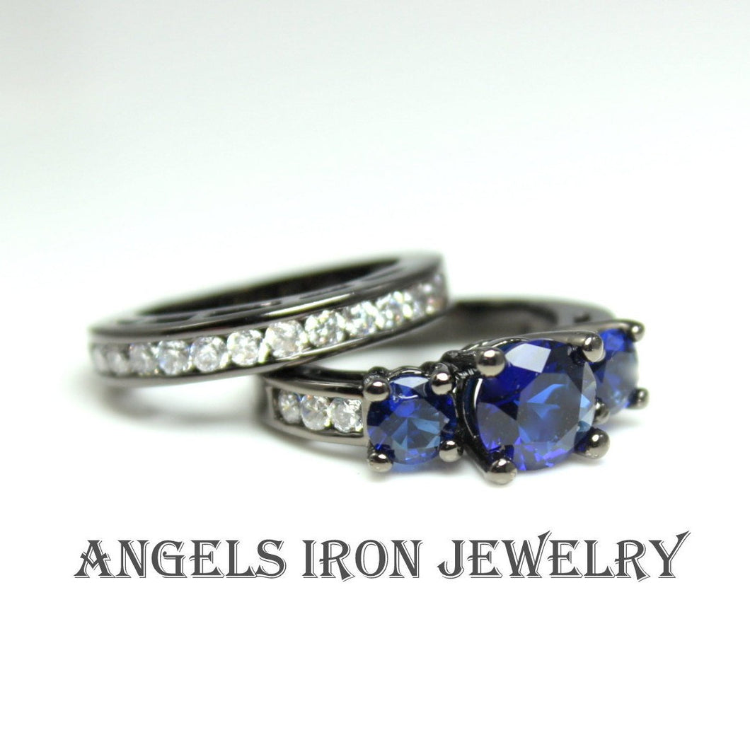 Black Engagement Rign Wedding Anniversary Promise Rings Women Blue Sapphire CZ Unique