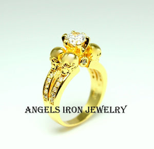 Skull Ring Women Wedding Engagement Anniversary Promise Rings Gold Filled Zirconia Unique Skulls Gothic Jewelry Gift r
