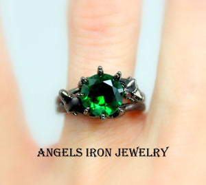 Black Ring Women Wedding Engagement Anniversary Promise Rings Green Emerald CZ Unique Gothic Jewelry Women Gift for her