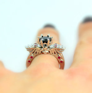 Skull Ring Women Silver Gothic Rings Wing Skulls Black CZ Pink Wedding Engagement Anniversary Promise High Qaulity Unique Jewelry Gift