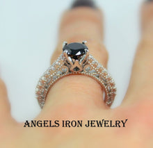 Load image into Gallery viewer, Black Diamond Ring Solitaire Round Cut Wedding Engagement Promise Rings