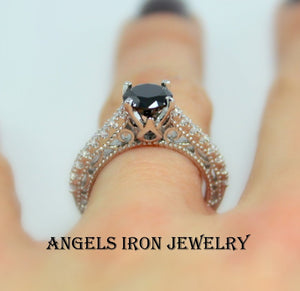 Black Diamond Ring Solitaire Round Cut Wedding Engagement Promise Rings