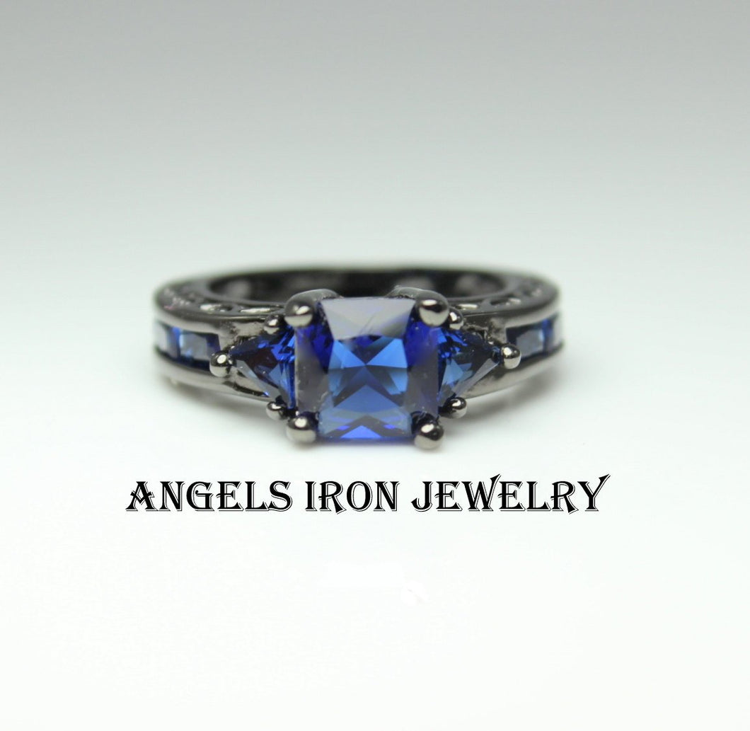 Black Gold Ring Women Wedding Engagement Promise Rings Blue Sapphire CZ