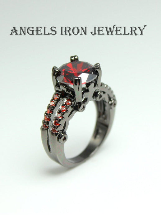 Black Rhodium Ring Women Large Ruby Red CZ Wedding Anniversary Promise Rings Steampunk Gothic