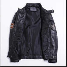 Load image into Gallery viewer, Genuine Sheepskin Leather Jacket Black Motorcycle Jackets Men Slim Fit Embroidered Oakland LA