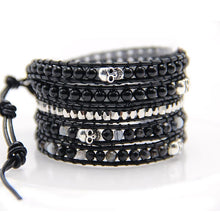 Load image into Gallery viewer, 5 layer black glass with antique silver skull beads Wrap Bracelets Leather wrap Bracelet with nature Stones skull bracelet