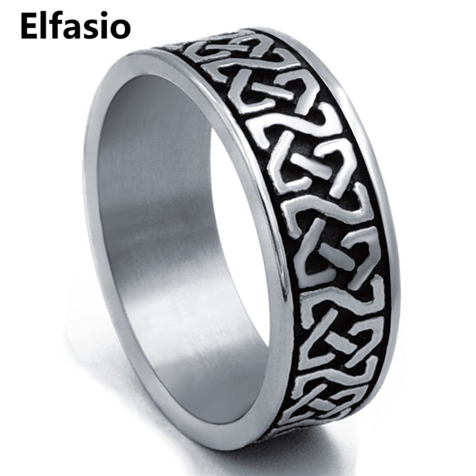 Celtic Knot Ring Men Stainless Steel Band Irish Jewelry Size 8-15