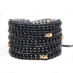 5 layer black glass with antique silver skull beads Wrap Bracelets Leather wrap Bracelet with nature Stones skull bracelet