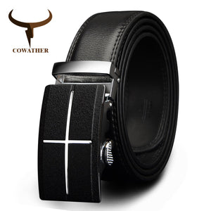 COWATHER mens belt  brand cow genuine leather belts for men automatic buckle black brown color size 34-44 cz039