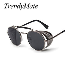 Load image into Gallery viewer, TrendyMate Retro Steampunk Sunglasses Round Designer Steam Punk Metal Shields Sunglasses Men Women UV400 Gafas de Sol 086M