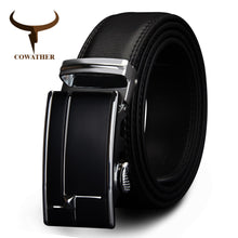 Load image into Gallery viewer, COWATHER big size men belts  cow genuine leather belts for men automaticbuckle black brown color size 34-44 cz038