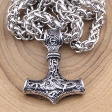 Load image into Gallery viewer, Stainless Steel Thor's Hammer Pendant Necklace Viking Scandinavian Norse Jewelry Men