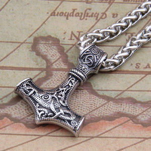 Stainless Steel Thor's Hammer Pendant Necklace Viking Scandinavian Norse Jewelry Men