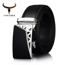 Load image into Gallery viewer, COWATHER Genuine Leather belts for men Automatic Ratchet Buckle Fashion casual Leather belts Waist 30-44 BROWN BLACK CZ052