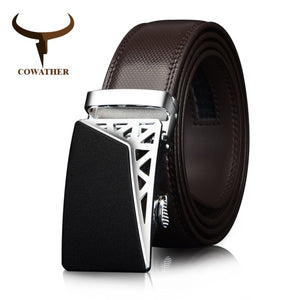 COWATHER Genuine Leather belts for men Automatic Ratchet Buckle Fashion casual Leather belts Waist 30-44 BROWN BLACK CZ052
