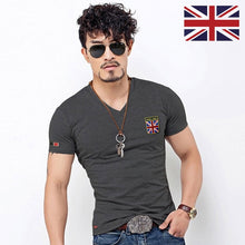 Load image into Gallery viewer, V Neck Men T Shirt Casual Cotton Male Slim Fit Embroidery England Flag Clothing Many Colors