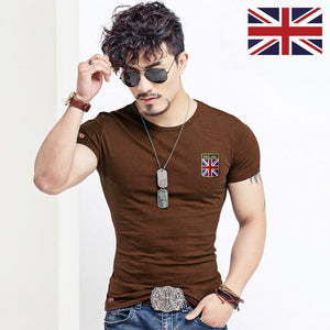 V Neck Men T Shirt Casual Cotton Male Slim Fit Embroidery England Flag Clothing Many Colors