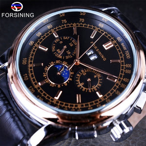 Forsining Moon Phase Shanghai Movement Rose Gold Case Brown Genuine Leather Strap Mens Watches