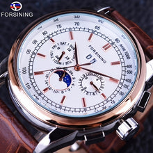 Load image into Gallery viewer, Forsining Moon Phase Shanghai Movement Rose Gold Case Brown Genuine Leather Strap Mens Watches