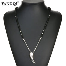 Load image into Gallery viewer, Mens Viking Wolf Fang Pendant Necklace Stainless Steel Chain Black Stone Norse Jewelry