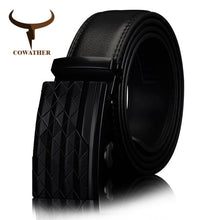 Load image into Gallery viewer, COWATHER Men's Automatic Buckle belt with Cow Genuine Leather BLACK BROWN Belts for Men brand Wide 3.5 cm CZ058