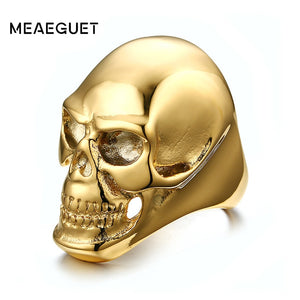 Meaeguet 41mm Skull Punk Rings Classic Big Gold-Color Stainless Steel Men