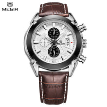 Load image into Gallery viewer, MEGIR Chronograph Casual Watch Men Luxury Brand Quartz Military Sport Watch Genuine Leather
