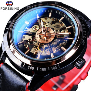 Forsining Motorcycle Design Transparent Genuine Leather Red Black Belt Waterproof Men Automatic Watches