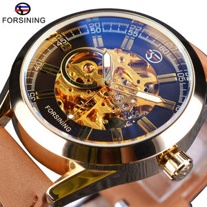 Forsining Mens Casual Sport Watch Genuine Leather Army Military Automatic