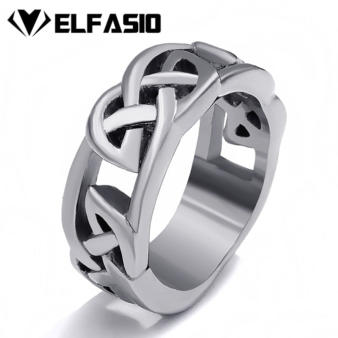 Celtic Knot Ring Stainless Steel Band Men Irish Jewelry