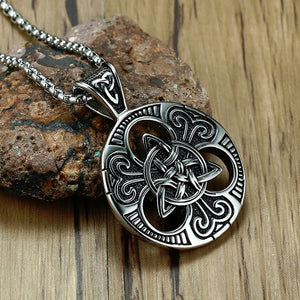 Irish Celtic Trinity Knot Pendant Necklace for Men Stainless Steel Jewelry