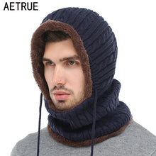 Load image into Gallery viewer, AETRUE Winter Knitted Hat Beanie Men Scarf Skullies Warm Winter Gear Sacrves