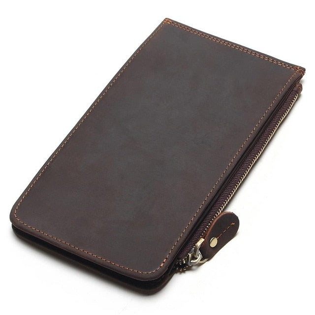New Men Ultra-Thin Genuine Leather Big-Capacity Long Cards Package Multi-Card Bit Wallet Bag Man Bank Credit Card Holder