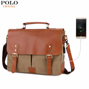 VICUNA POLO Vintage Genuine Leather Satchel Messenger Bag For Man Canvas 14'' Men Laptop Bags Shoulder Bag Men Briefcase Handbag