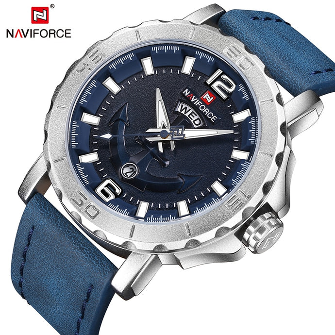 New NAVIFORCE Sport Quartz Watch Waterproof Mens Watches Genuine Leather Date