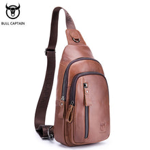 Load image into Gallery viewer, BULLCAPTAIN Fashion Genuine Leather Crossbody Bags men Brand Small Male Shoulder Bag casual men's music chest bags messenger bag