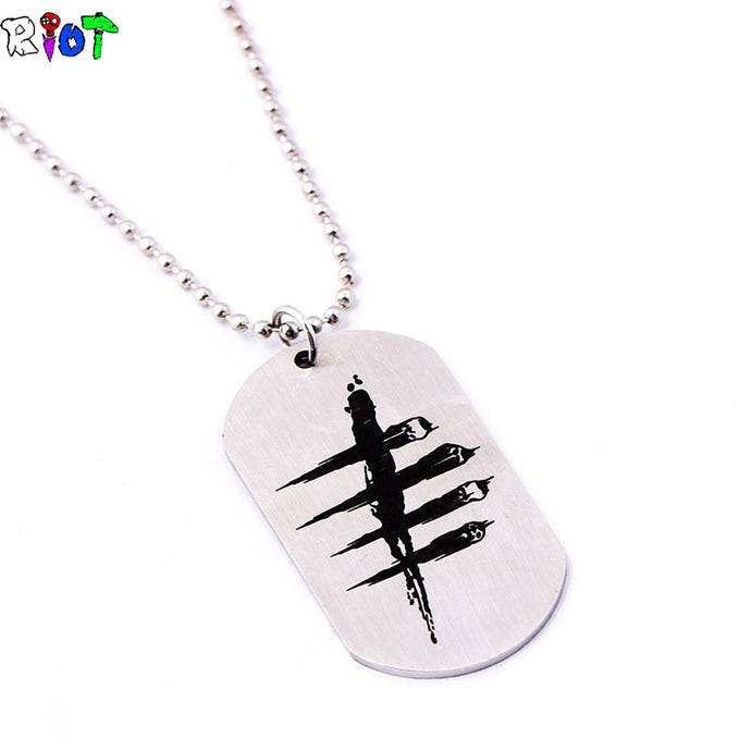 Dog Tag Droid Haunt Game Dead by Daylight Necklace Stainless Steel Round Bead Chain Men