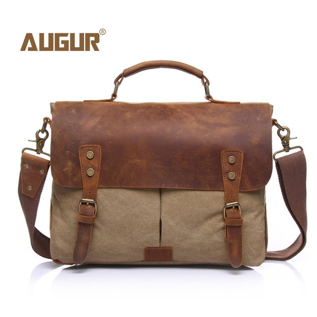 AUGUR New Fashion Men's Vintage Handbag Genuine Leather Shoulder Bag Messenger Laptop Briefcase Satchel Bag Fit 14 inch Laptop