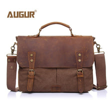 Load image into Gallery viewer, AUGUR New Fashion Men's Vintage Handbag Genuine Leather Shoulder Bag Messenger Laptop Briefcase Satchel Bag Fit 14 inch Laptop