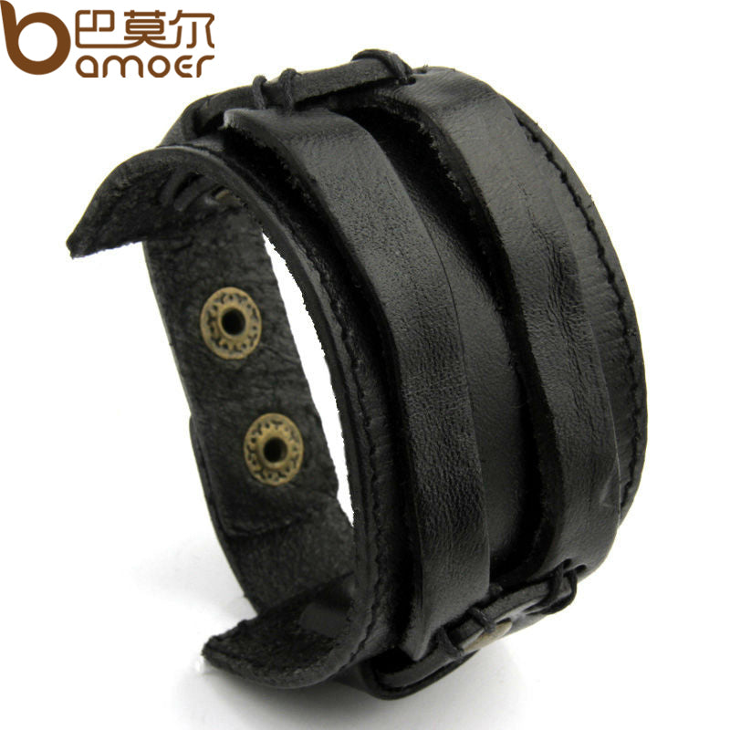 BAMOER Real Leather Cuff Double Wide Bracelet and Rope Bangles Black for Men Fashion Man Bracelet Jewelry PI0296